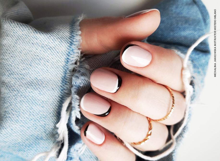 czarno biały french manicure